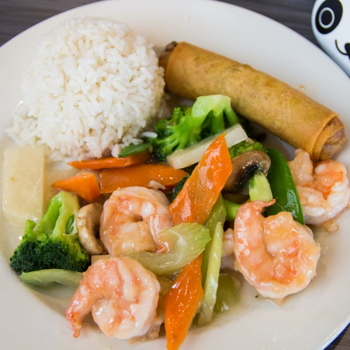 Steamed shrimp+scallops with side of fried rice and mixed ...  |Shrimp With Mixed Vegetables